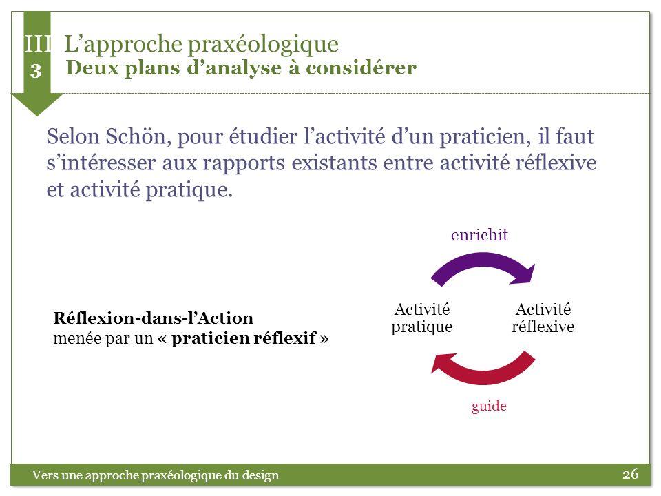 26 Selon Schön, pour étudier lactivité dun praticien, il faut sintéresser aux rapports existants entre activité réflexive et activité pratique. Vers u