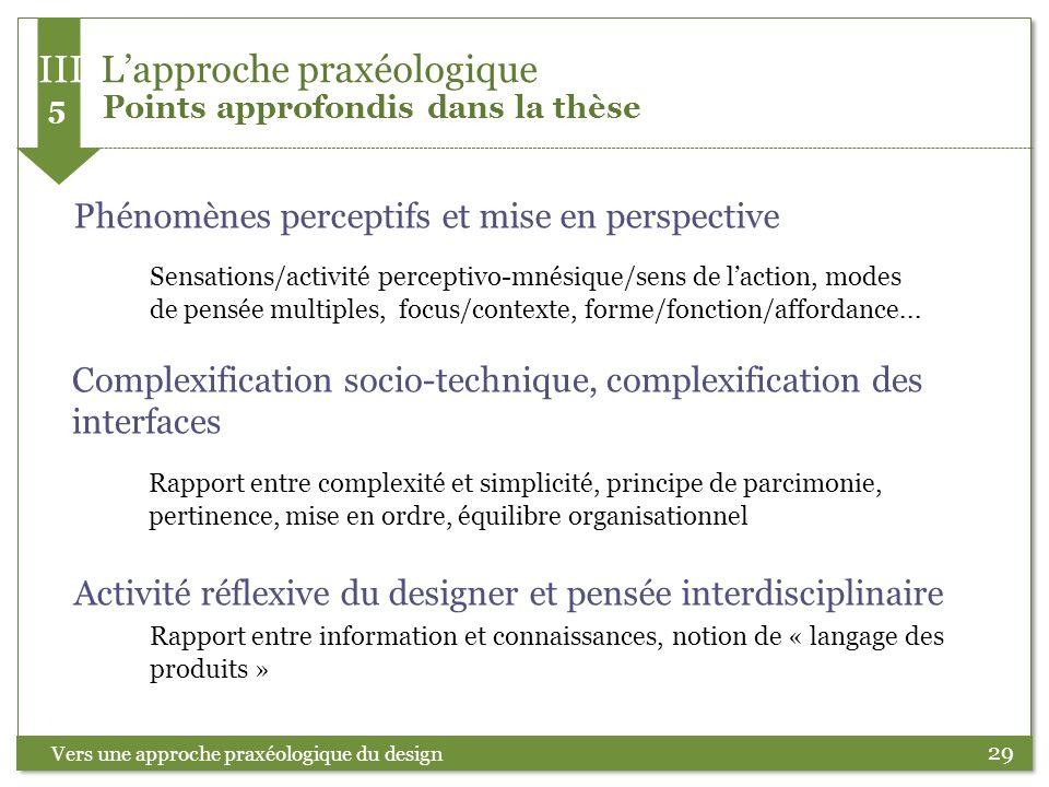 29 Vers une approche praxéologique du design Phénomènes perceptifs et mise en perspective Sensations/activité perceptivo-mnésique/sens de laction, mod