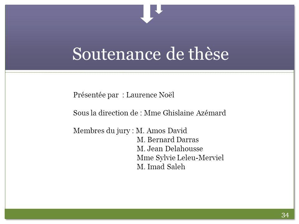 34 Soutenance de thèse Présentée par : Laurence Noël Sous la direction de : Mme Ghislaine Azémard Membres du jury : M. Amos David M. Bernard Darras M.