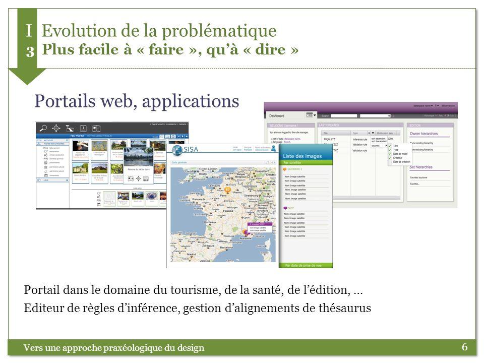 6 Vers une approche praxéologique du design I Evolution de la problématique 3 Plus facile à « faire », quà « dire » Portails web, applications Editeur