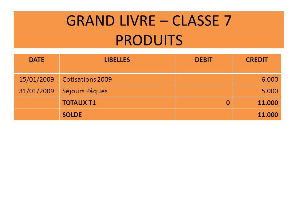 GRAND LIVRE – CLASSE 7 PRODUITS DATELIBELLESDEBITCREDIT 15/01/2009Cotisations 20096.000 31/01/2009Séjours Pâques5.000 TOTAUX T1011.000 SOLDE11.000