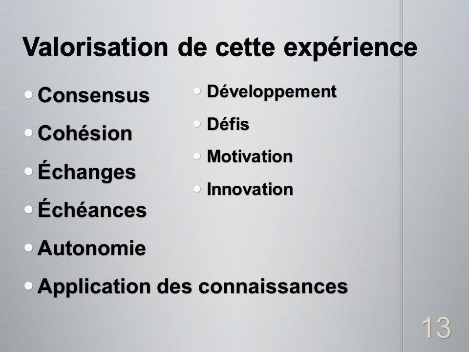 Consensus Consensus Cohésion Cohésion Échanges Échanges Échéances Échéances Autonomie Autonomie Application des connaissances Application des connaiss