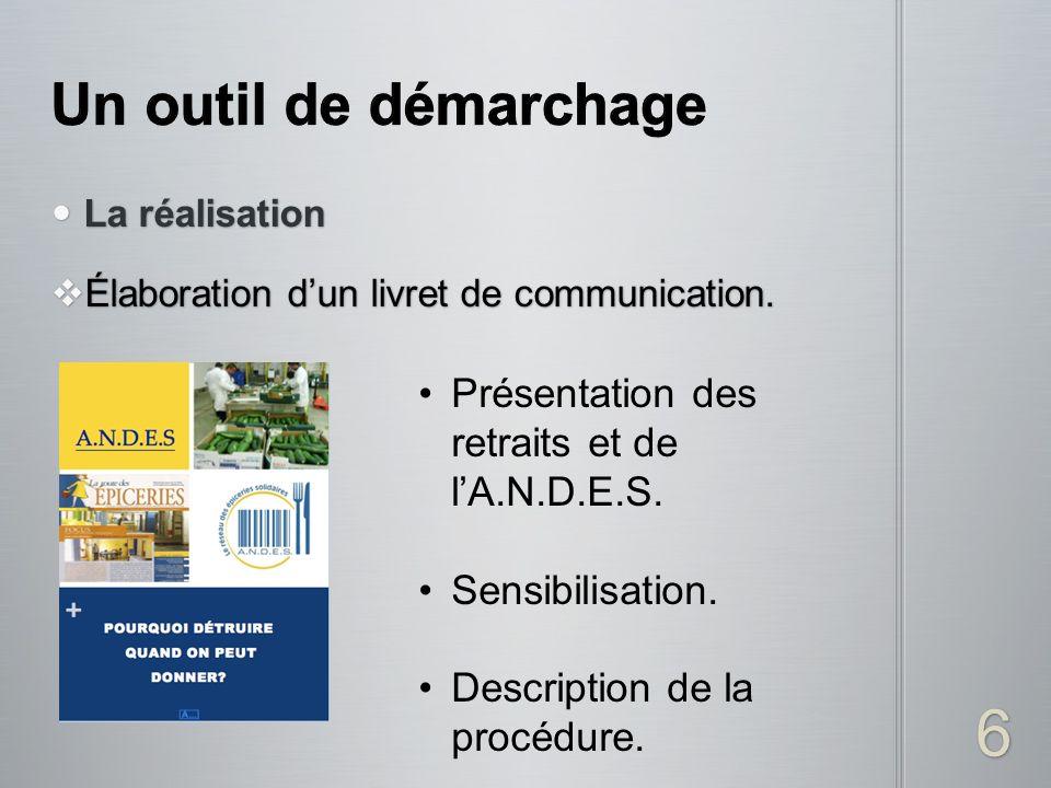 La réalisation La réalisation Élaboration dun livret de communication. Élaboration dun livret de communication. 6 Présentation des retraits et de lA.N