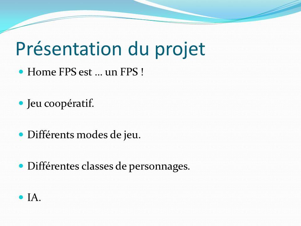 Présentation du projet Home FPS est … un FPS ! Jeu coopératif. Différents modes de jeu. Différentes classes de personnages. IA.