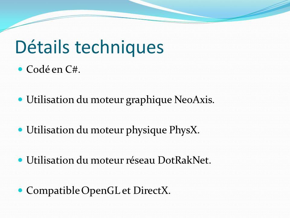 Détails techniques Codé en C#. Utilisation du moteur graphique NeoAxis. Utilisation du moteur physique PhysX. Utilisation du moteur réseau DotRakNet.