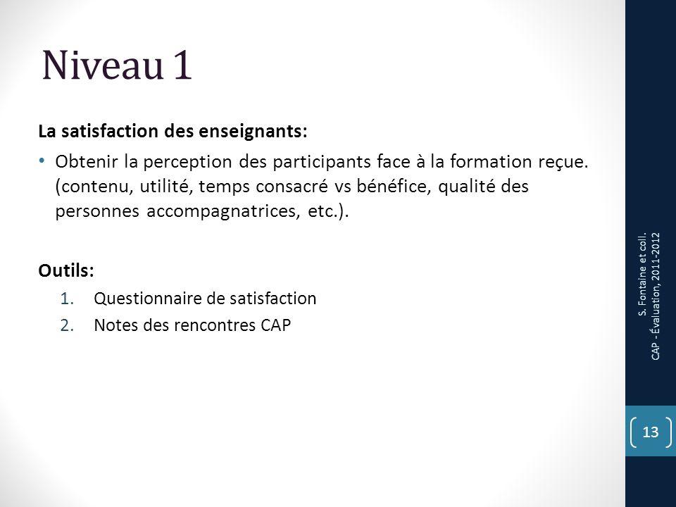 Niveau 1 La satisfaction des enseignants: Obtenir la perception des participants face à la formation reçue.