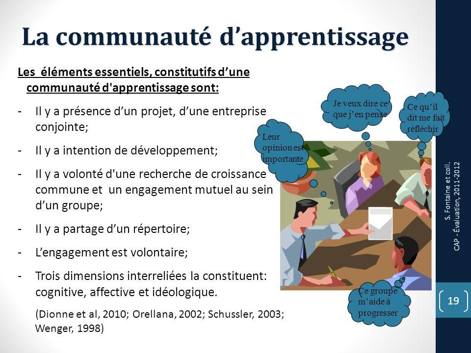 19 La communauté dapprentissage Les éléments essentiels, constitutifs dune communauté d apprentissage sont: -Il y a présence dun projet, dune entreprise conjointe; -Il y a intention de développement; -Il y a volonté d une recherche de croissance commune et un engagement mutuel au sein dun groupe; -Il y a partage dun répertoire; -Lengagement est volontaire; -Trois dimensions interreliées la constituent: cognitive, affective et idéologique.