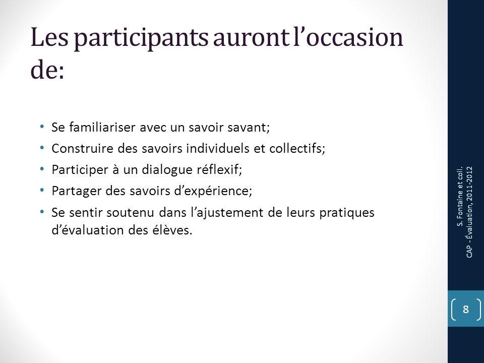 Tâche des participants 1.Répondre à un questionnaire démographique, a un questionnaire Bilan (à deux reprises) et à un questionnaire de satisfaction à légard des CAP.