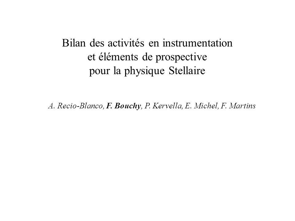Bilan des activités en instrumentation et éléments de prospective pour la physique Stellaire A. Recio-Blanco, F. Bouchy, P. Kervella, E. Michel, F. Ma