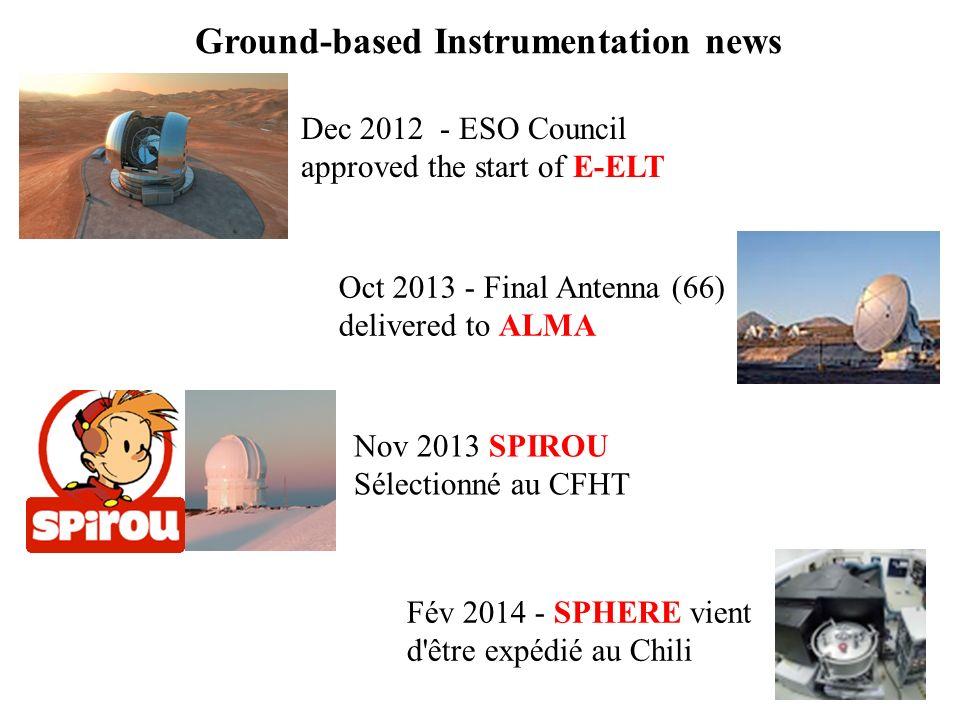 Ground-based Instrumentation news Oct 2013 - Final Antenna (66) delivered to ALMA Fév 2014 - SPHERE vient d'être expédié au Chili Nov 2013 SPIROU Séle