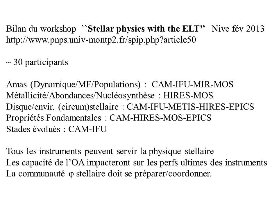 Bilan du workshop ``Stellar physics with the ELT Nive fév 2013 http://www.pnps.univ-montp2.fr/spip.php?article50 ~ 30 participants Amas (Dynamique/MF/