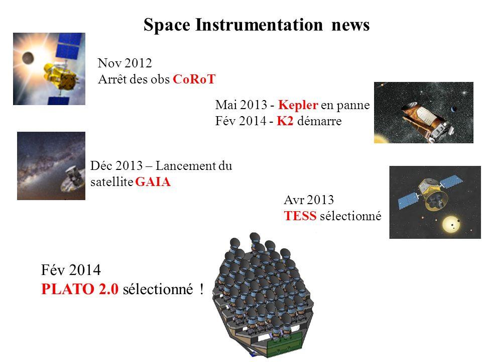 Space Instrumentation news Déc 2013 – Lancement du satellite GAIA Nov 2012 Arrêt des obs CoRoT Fév 2014 PLATO 2.0 sélectionné ! Mai 2013 - Kepler en p