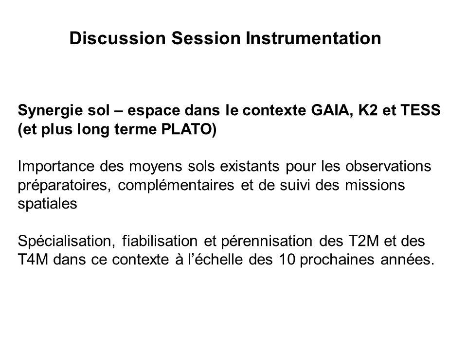 Discussion Session Instrumentation Synergie sol – espace dans le contexte GAIA, K2 et TESS (et plus long terme PLATO) Importance des moyens sols exist