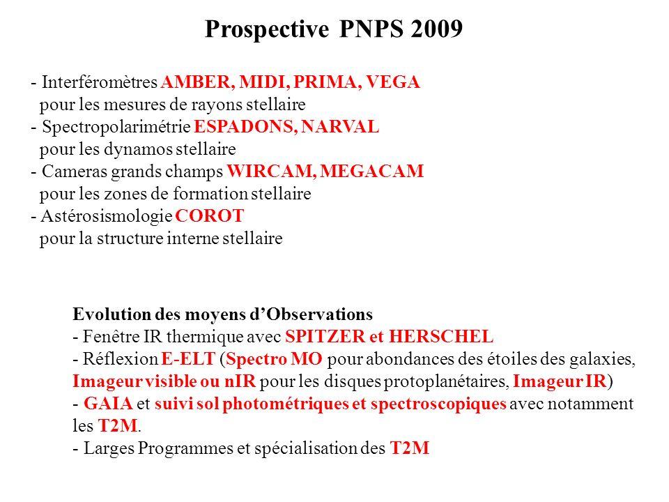 Prospective PNPS 2009 - Interféromètres AMBER, MIDI, PRIMA, VEGA pour les mesures de rayons stellaire - Spectropolarimétrie ESPADONS, NARVAL pour les