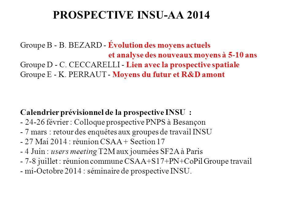 PROSPECTIVE INSU-AA 2014 Calendrier prévisionnel de la prospective INSU : - 24-26 février : Colloque prospective PNPS à Besançon - 7 mars : retour des