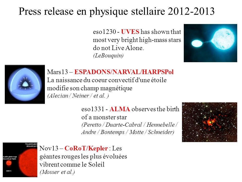 Mars13 – ESPADONS/NARVAL/HARPSPol La naissance du coeur convectif d'une étoile modifie son champ magnétique (Alecian / Neiner / et al. ) eso1331 - ALM