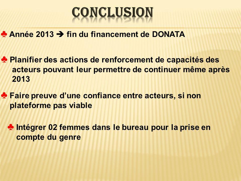 Année 2013 fin du financement de DONATA Planifier des actions de renforcement de capacités des acteurs pouvant leur permettre de continuer même après