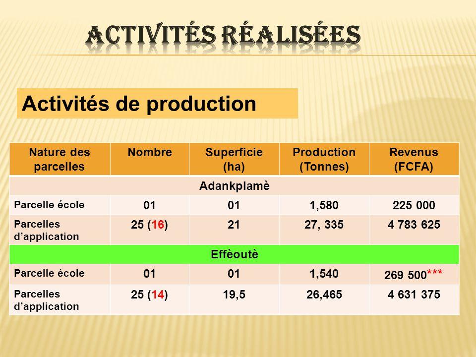 Activités de production NombreSuperficie (ha) Production (Tonnes) Revenus (FCFA) Ayétèdjou Parcelle école 01 0,950166 250 Parcelles dapplication 2512,513, 1422 299 938 Omou Parcelle école 01 0,640112 000 Parcelles dapplication 261311,9402 089 500 Au total : 101 producteurs ont emblavé 66 ha pour une production totale de 83,593 tonnes pour un revenu de 14 577 188 FCFA (à raison de 7000 F la bassine de 40 kg)