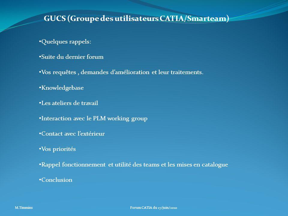GUCS (Groupe des utilisateurs CATIA/Smarteam) Quelques rappels: Suite du dernier forum Vos requêtes, demandes damélioration et leur traitements. Knowl