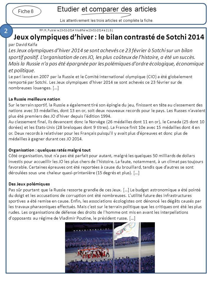 Etudier et comparer des articles Lis attentivement les trois articles et complète la fiche. Fiche 8 RFI.fr, Publié le 23-02-2014 Modifié le 23-02-2014