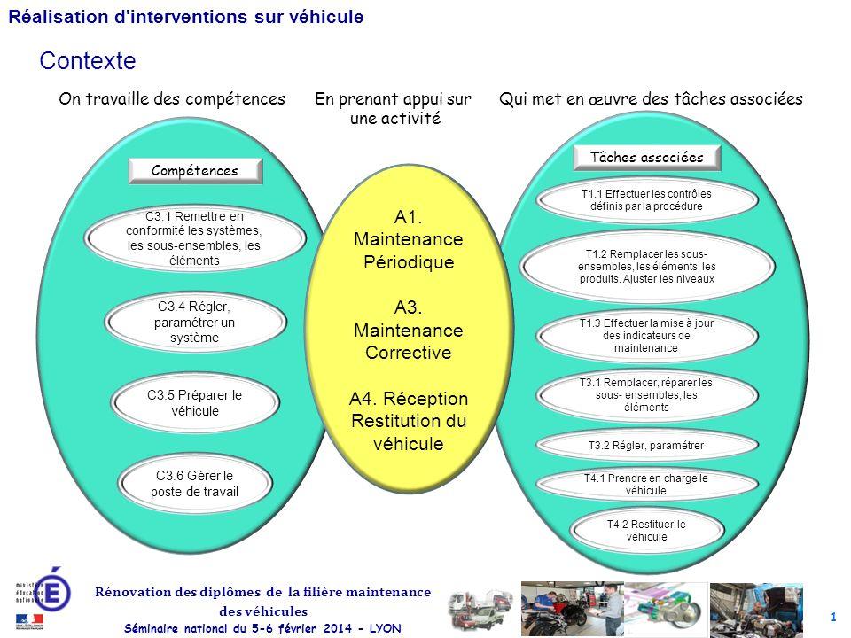 1 Rénovation des diplômes de la filière maintenance des véhicules Séminaire national du 5-6 février 2014 - LYON Réalisation d interventions sur véhicule A1.