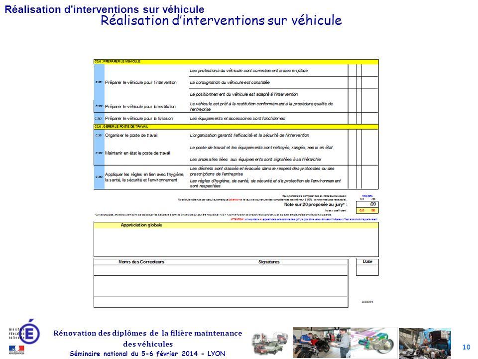 10 Rénovation des diplômes de la filière maintenance des véhicules Séminaire national du 5-6 février 2014 - LYON Réalisation d interventions sur véhicule Réalisation dinterventions sur véhicule