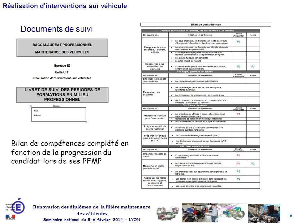 6 Rénovation des diplômes de la filière maintenance des véhicules Séminaire national du 5-6 février 2014 - LYON Réalisation d interventions sur véhicule Documents de suivi Bilan de compétences complété en fonction de la progression du candidat lors de ses PFMP