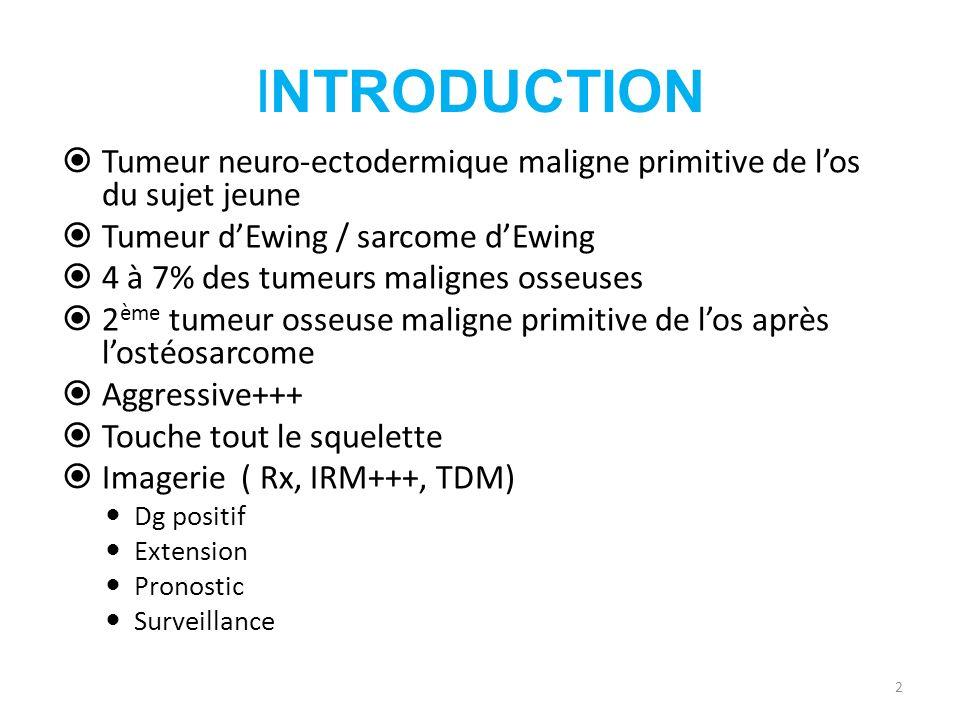 INTRODUCTION Tumeur neuro-ectodermique maligne primitive de los du sujet jeune Tumeur dEwing / sarcome dEwing 4 à 7% des tumeurs malignes osseuses 2 è