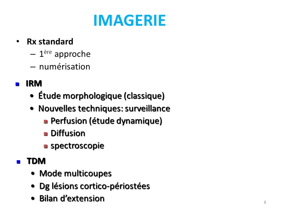 IMAGERIE Rx standard – 1 ère approche – numérisation 8 IRM IRM Étude morphologique (classique)Étude morphologique (classique) Nouvelles techniques: su