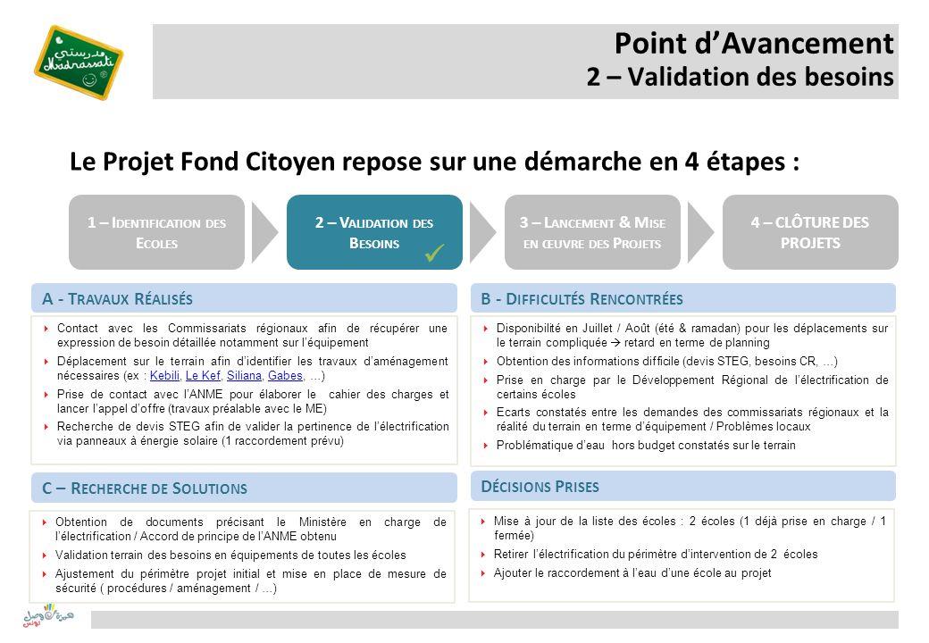 Point dAvancement 2 – Validation des besoins A - T RAVAUX R ÉALISÉS Contact avec les Commissariats régionaux afin de récupérer une expression de besoi