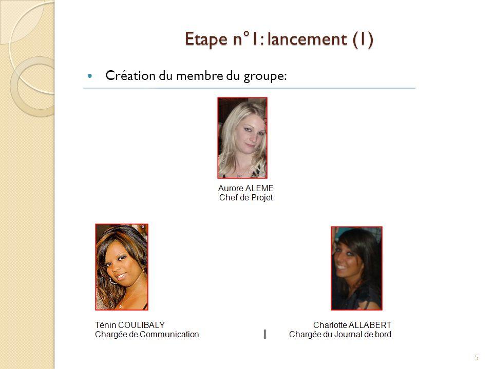 Etape n°1: lancement (1) Création du membre du groupe: 5