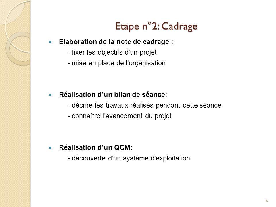 Etape n°2: Cadrage Elaboration de la note de cadrage : - fixer les objectifs dun projet - mise en place de lorganisation Réalisation dun bilan de séan