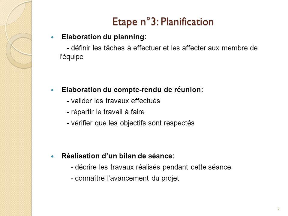 Etape n°3: Planification Elaboration du planning: - définir les tâches à effectuer et les affecter aux membre de léquipe Elaboration du compte-rendu d