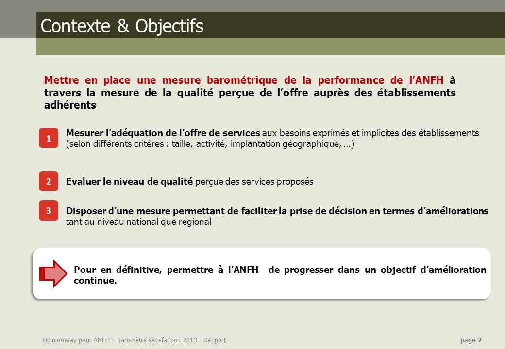 OpinionWay pour ANFH – baromètre satisfaction 2013 - Rapport page 2 Contexte & Objectifs 1 2 3 Pour en définitive, permettre à lANFH de progresser dan