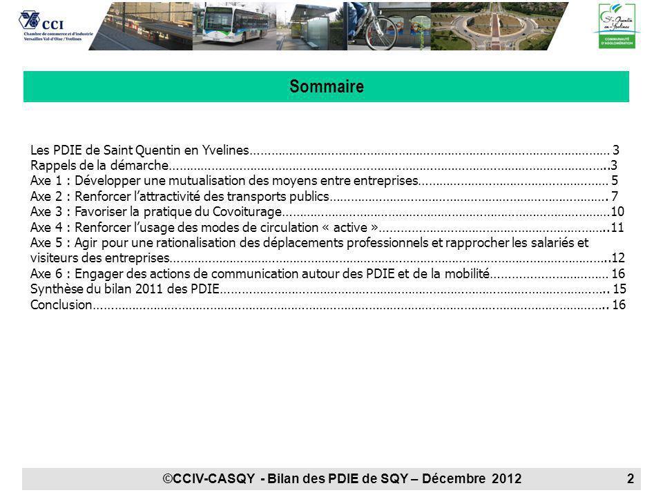 Rappel de la démarche PDIE : 4 PDIE sont mis en place sur le territoire de Saint Quentin en Yvelines.