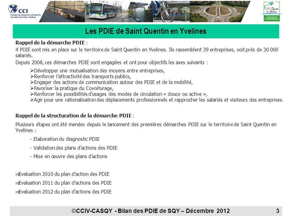 Rappel de la démarche PDIE : 4 PDIE sont mis en place sur le territoire de Saint Quentin en Yvelines. Ils rassemblent 39 entreprises, soit près de 30