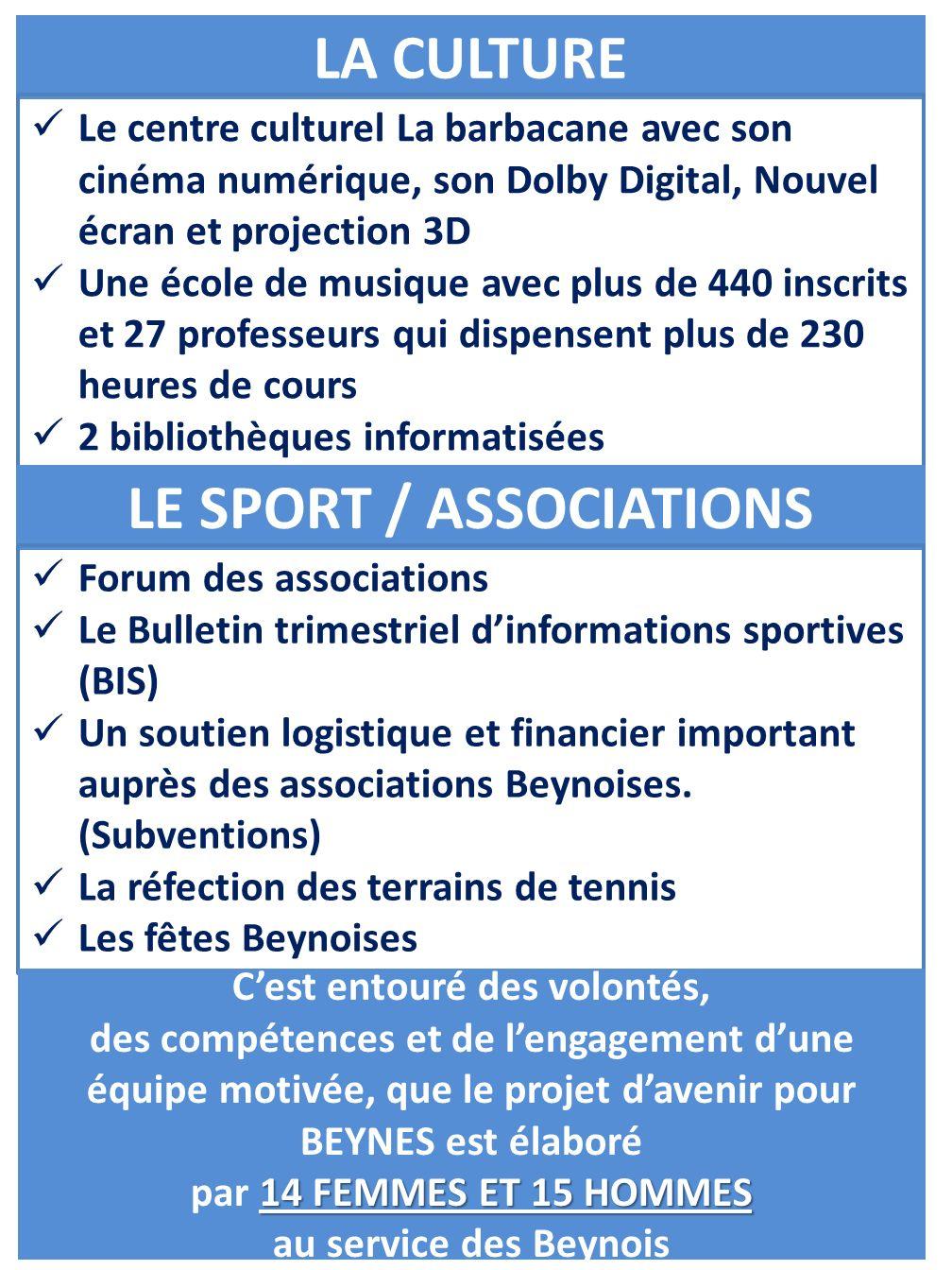 LA CULTURE Le centre culturel La barbacane avec son cinéma numérique, son Dolby Digital, Nouvel écran et projection 3D Une école de musique avec plus