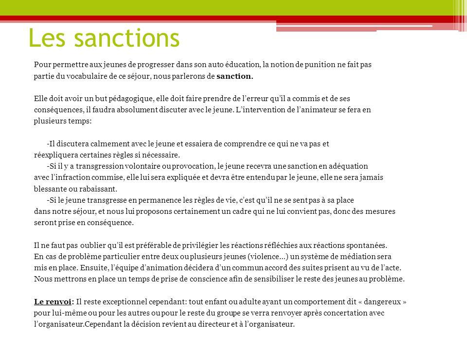 Les sanctions Pour permettre aux jeunes de progresser dans son auto éducation, la notion de punition ne fait pas partie du vocabulaire de ce séjour, nous parlerons de sanction.