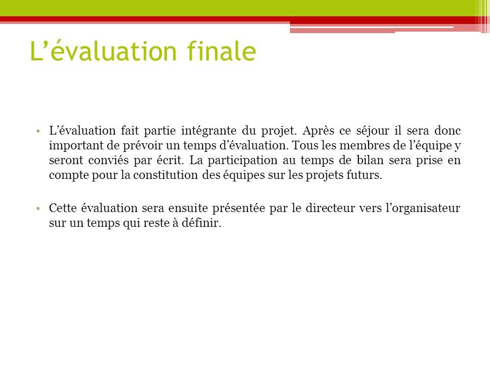 Lévaluation finale Lévaluation fait partie intégrante du projet.