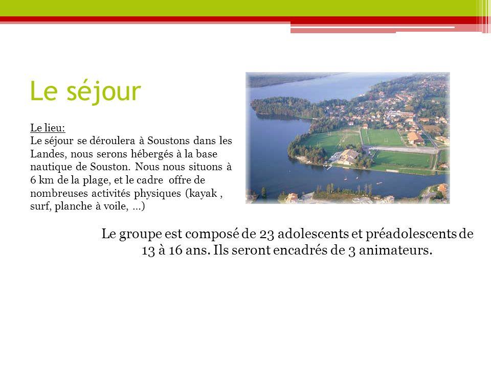 Le séjour Le lieu: Le séjour se déroulera à Soustons dans les Landes, nous serons hébergés à la base nautique de Souston.