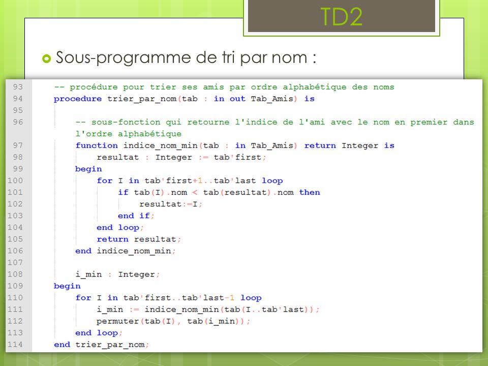 Sous-programme de tri par nom : TD2