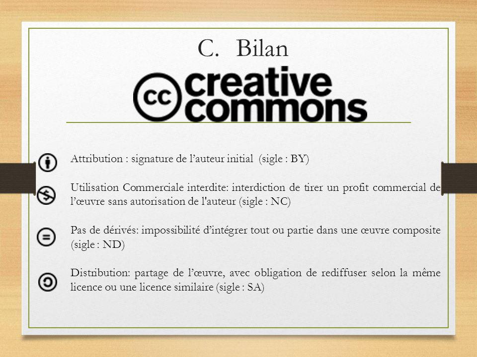 C.Bilan Attribution : signature de lauteur initial (sigle : BY) Utilisation Commerciale interdite: interdiction de tirer un profit commercial de lœuvr