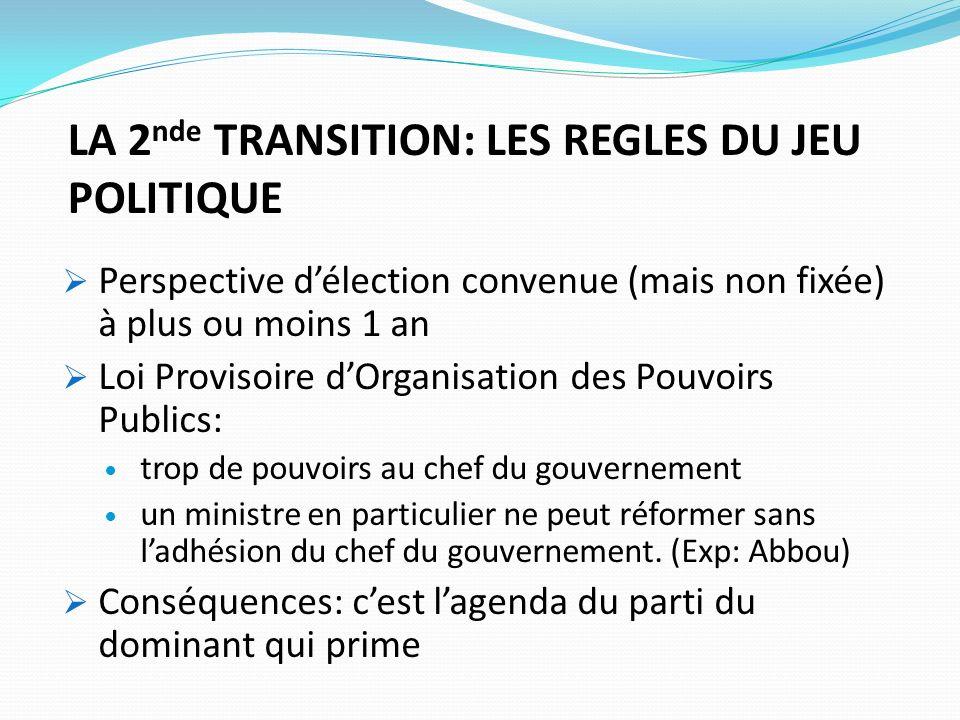 LA 2 nde TRANSITION: LES REGLES DU JEU POLITIQUE Perspective délection convenue (mais non fixée) à plus ou moins 1 an Loi Provisoire dOrganisation des