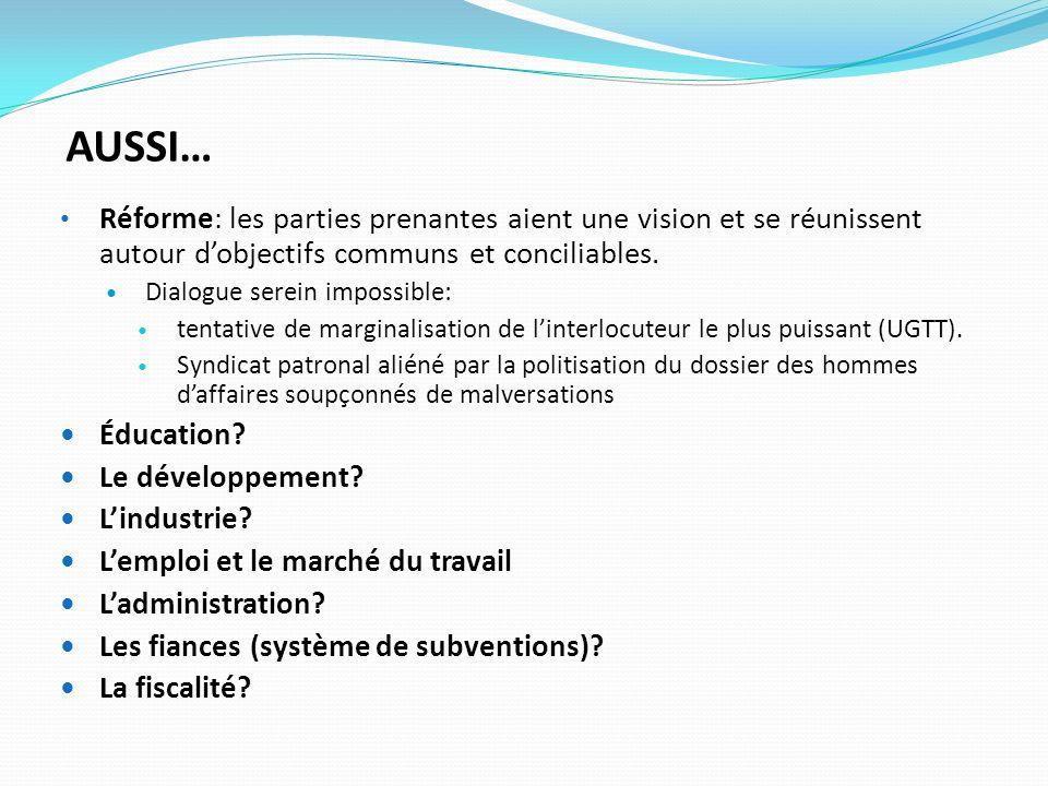 AUSSI… Réforme: les parties prenantes aient une vision et se réunissent autour dobjectifs communs et conciliables. Dialogue serein impossible: tentati