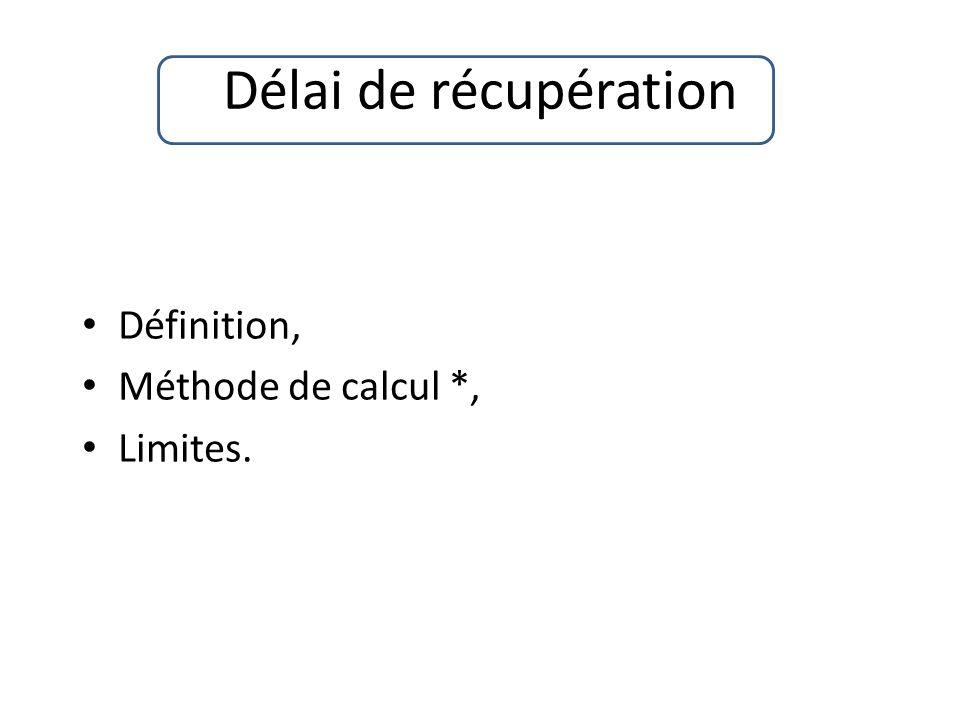Définition, Méthode de calcul *, Limites.
