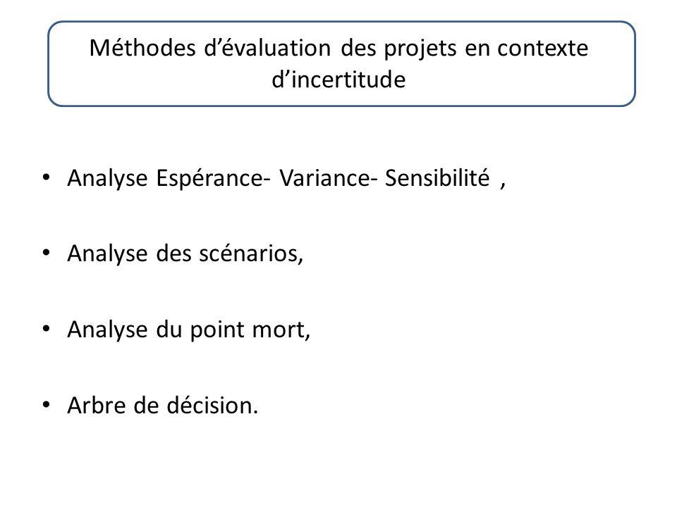 Analyse Espérance- Variance- Sensibilité, Analyse des scénarios, Analyse du point mort, Arbre de décision.