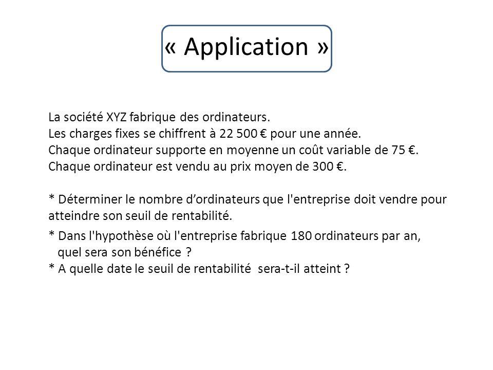 « Application » La société XYZ fabrique des ordinateurs. Les charges fixes se chiffrent à 22 500 pour une année. Chaque ordinateur supporte en moyenne