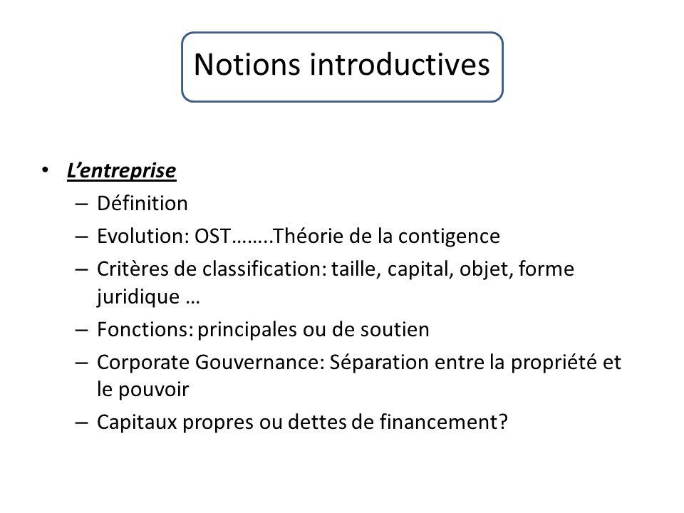 Notions introductives Lentreprise – Définition – Evolution: OST……..Théorie de la contigence – Critères de classification: taille, capital, objet, form
