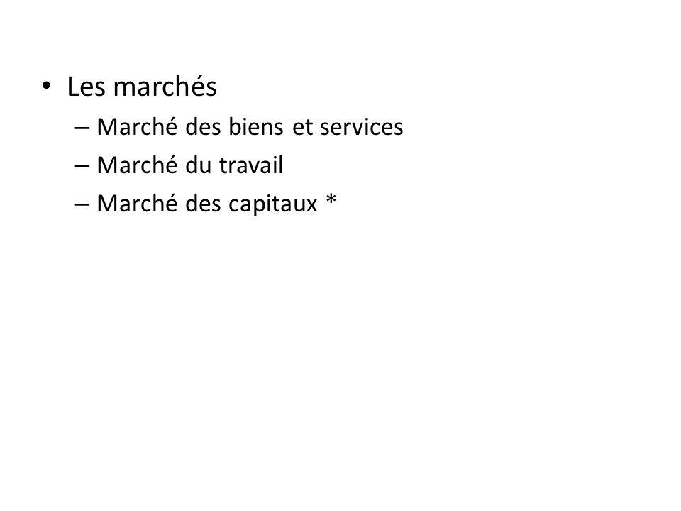 Les marchés – Marché des biens et services – Marché du travail – Marché des capitaux *