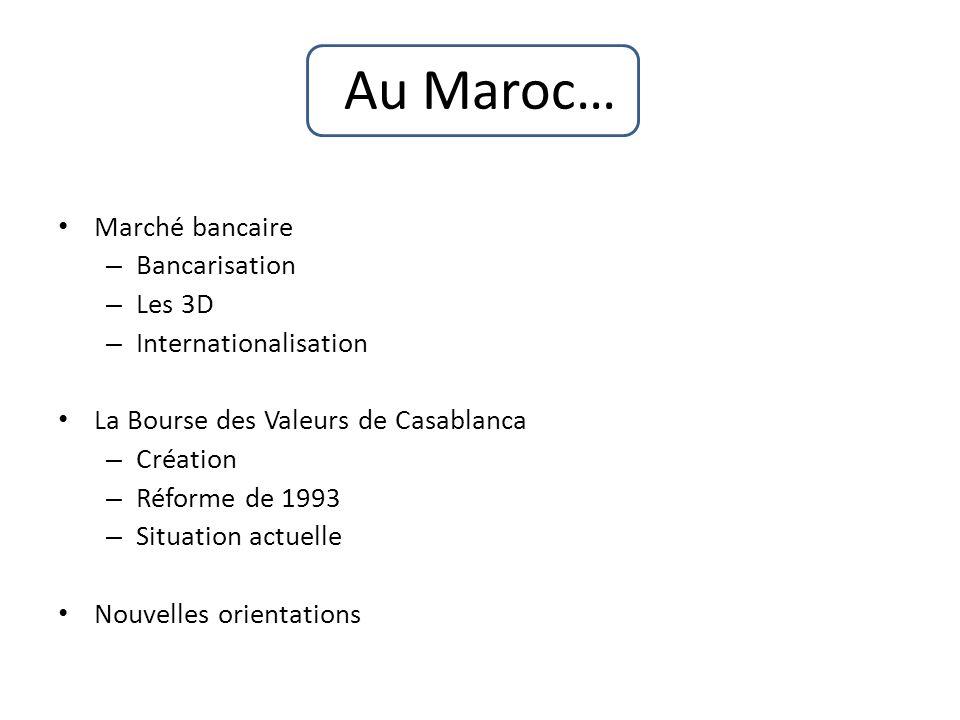 Au Maroc… Marché bancaire – Bancarisation – Les 3D – Internationalisation La Bourse des Valeurs de Casablanca – Création – Réforme de 1993 – Situation actuelle Nouvelles orientations